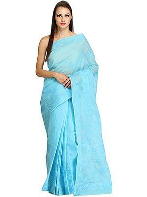 Plum-Blue Lukhnavi Chikan Sari with Hand-Embroidered Paisleys