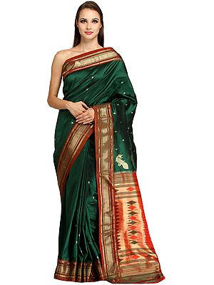 Verdant-Green Paithani Sari with Zari-woven Border and Hand-woven Peacocks on Pallu