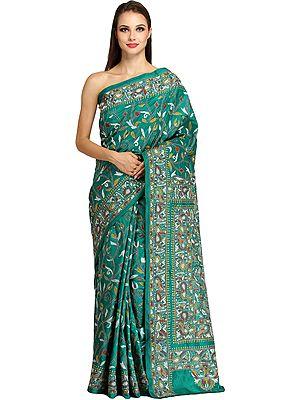 Parasailing-Green Kantha Sari from Kolkata with Dense-Embroidery by Hand