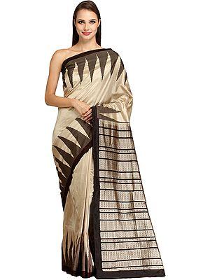 Oatmeal-Gray Handloom Ikat Sari from Sambhalpur with Woven Temple Border