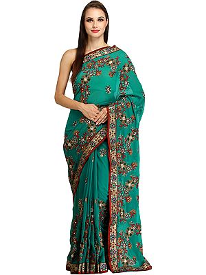 Parasailing-Green Designer Wedding Sari with All-Over Floral Embroidery and Bead-work