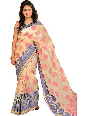 Cream Banarasi Sari with Woven Large Bootis and Paisleys on Pallu