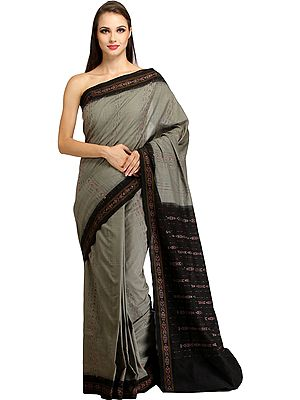 Gray and Black Handloom Sambhalpuri Sari with Ikat Weave