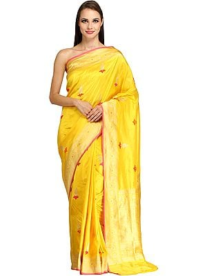 Aspen-Gold Banarasi Sari with Woven Bootis and Brocaded Pallu