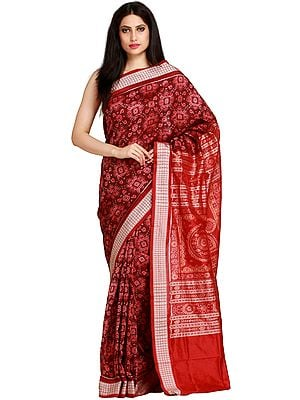 Chocolate and Red Sambhalpuri Handloom Sari from Orissa with Ikat Weave