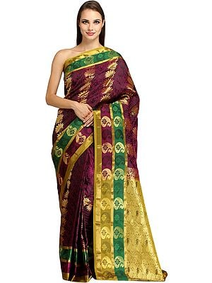 Dark-Purple and Golden Self Weave Sari from Bangalore with Zari-Woven Flowers and Brocaded Pallu