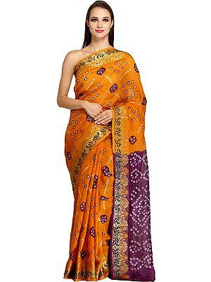 Nugget-Orange Self Weave Bandhani Tie-Dye Sari from Jodhpur with Zari-Woven Border