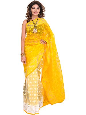Pale-Marigold Jamdani Sari from Bengal with Woven Bootis