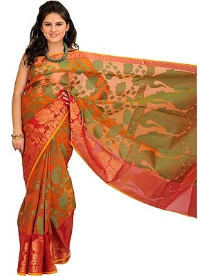 Rust-Brown Banarasi Sari with Woven Flowers and Giant Paisleys on Pallu