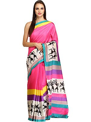 Azalea-Pink Bhagalpuri Sari with Printed Warli Folk Motifs