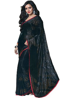 Jet-Black Self Weave Sari with Golden Print and Narrow Patch Border