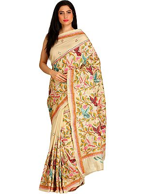 Almond-Oil Sari from Kolkata with Kantha Hand-Embroidered Birds