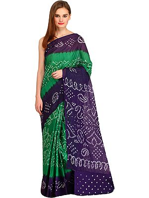 Double-Shaded Bandhani Tie-Dye Sari from Jodhpur