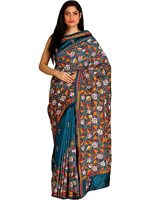 Celestial-Blue Kantha Sari from Kolkata with Embroidered Leaves by Hand