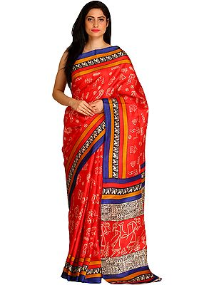 Rococco-Red Sari from Bengal with Printed Warli Folk Motifs and Striped Border