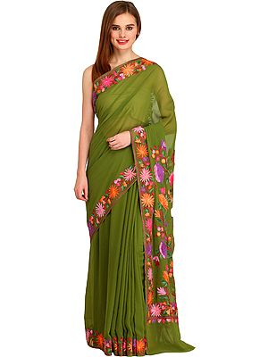 Epsom-Green Kashmiri Sari with Ari Floral-Embroidery