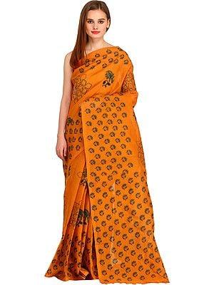 Golden-Oak Floral Block-Printed Sari