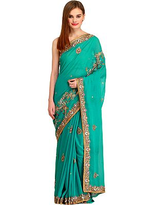 Tropical-Green Designer Wedding Sari with Floral-Embroidered Beads and Stones