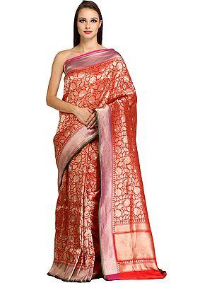 Bridal-Red Brocaded Handloom Banarasi Sari with Zari-Woven Lotuses All-Over