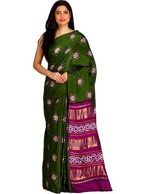 Green and Purple Bandhani Tie-Dye Sari from Jodhpur with Zari-Weave on Pallu