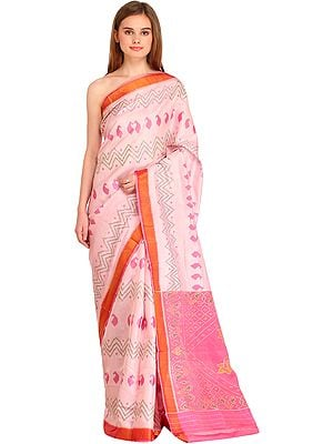 Parfait-Pink Ikat Handloom Patan-Patola Sari from Gujarat with Zigzag Weave and Paisleys