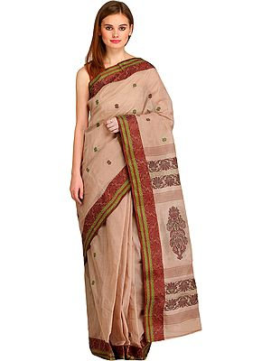 Moonlight Sari from Bengal with Woven Bootis and Floral Motifs on Pallu