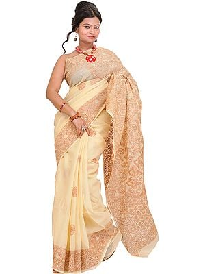 Vanilla-Cream Lukhnavi Chikan Sari with Floral-Embroidery by Hand