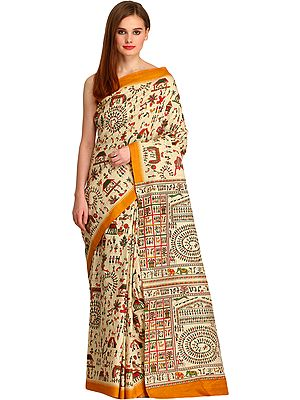 Almond-Oil Printed Sari from Bengal with Warli Folk Motifs All-Over and Temple Border