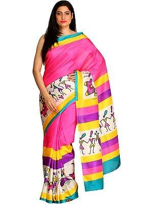 Azalea-Pink Bhagalpuri Sari with Printed Warli Folk Motifs and Striped Border