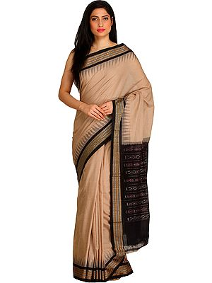 Moonlight Handloom Sari from Sambhalpur with Woven Temple Border and Ikat Weave on Pallu