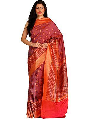 Baroque-Rose Banarasi Sari with Zigzag Weave and Zari-Woven Bootis