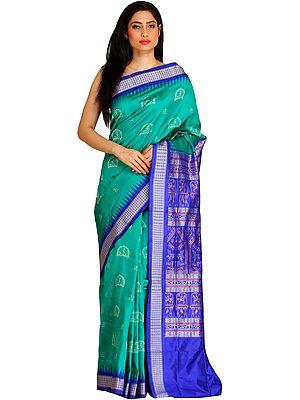 Green and Blue Bomkai Sari from Orissa with Woven Warli Folk Motifs on Pallu and Ikat Temple Border