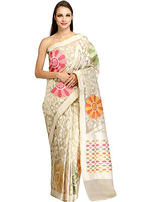 Pristine-White Tissue Sari from Banaras with Woven Giant Flowers