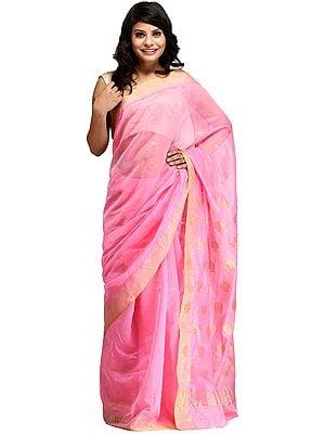 Sachet-Pink Chanderi Handloom Sari With Zari-Woven Lotuses on Pallu