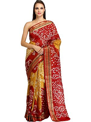 Double-Colored Bandhani Tie-Dye Sari from Jodhpur with Woven Border