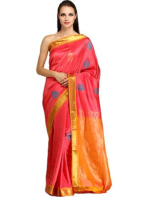 Sunkist-Coral Handloom Sari from Bangalore with Woven Large Bootis and Brocaded Pallu