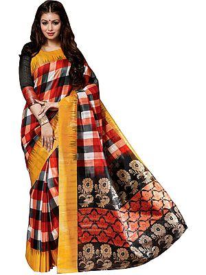 Multicolored Sanganeri-Silk Sari with Woven Checks and Peacocks on Pallu