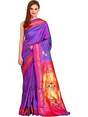 Dahlia-Purple Paithani Sari with Brocaded Border and Hand-Woven Peacocks on Pallu