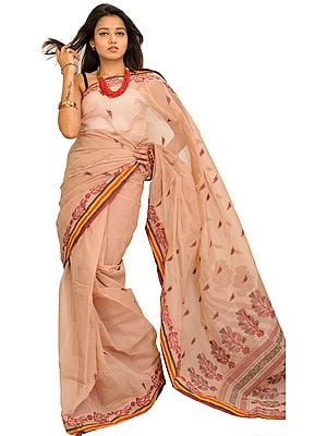 Moonlight Purbasthali Tant Sari from Bengal with Woven Leaves on Pallu