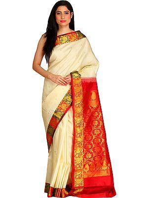 Cream and Red Kanjivaram Sari from Bangalore with Brocaded Pallu and Border