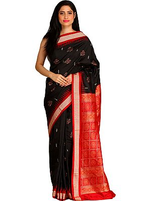 Black and Red Bomkai Sari from Orissa with Large Bootis and Dense Weave on Pallu
