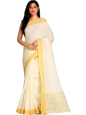 Ivory Puja Sari from Bengal with Woven Stripes in Self Color Thread and Golden Solid Border