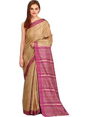 Light-Taupe and Tulipwood Kosa Sari from Bengal with Striped Pallu