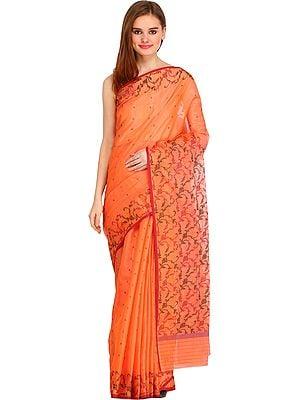 Papaya-Punch Chanderi Sari with Floral Weave