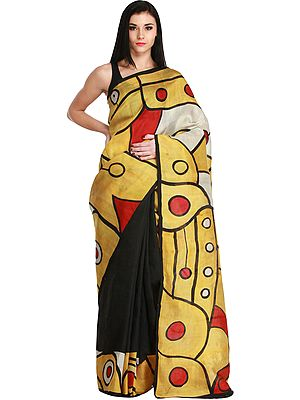 Black and Bright Gold Sari from Kolkata with Modern Print