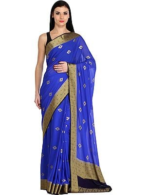 Vibrant-Blue Sari from Bangalore with Zari-Woven Bootis and Brocaded Border