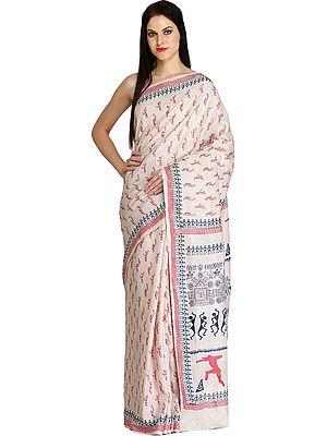 Dusty-White Sari from Madhya Pradesh with Printed Warli Folk Motifs