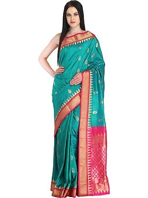 Green and Pink Wedding Sari from Bangalore with Zari-Woven Bootis and Temple Border