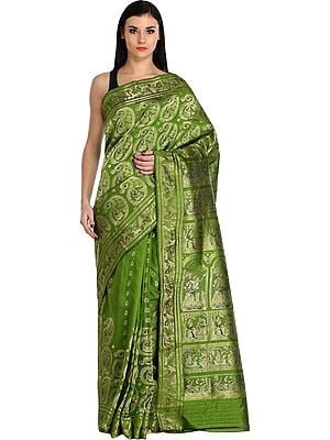 Peridot-Green Baluchari Sari from Bengal Depicting Mythological Episodes from Mahabharata