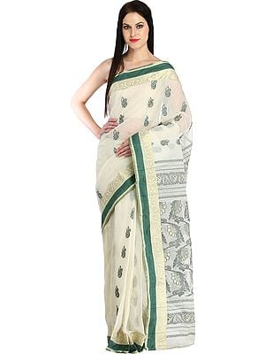Ivory Sari from Bengal with Zari Weave on Border and Sunflowers on Pallu
